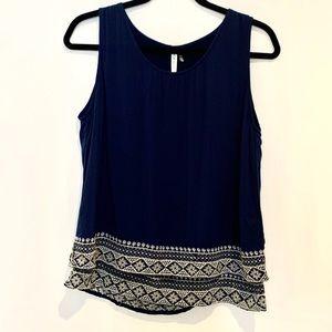 NWT Mür Mür sleeveless embroidered navy blue top